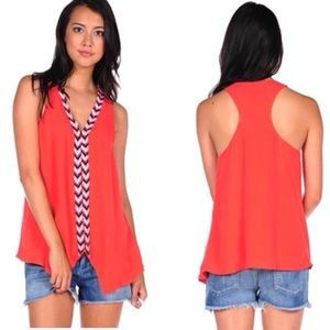 Parker Silk Coral Beaded Front Sleeveless Top Vest
